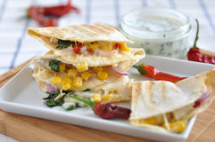 Quesadilla with chicken, chili pepper and corn Stock Photos