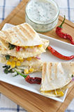 Quesadilla with chicken, chili pepper and corn Royalty Free Stock Photography