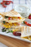 Quesadilla with chicken, chili pepper and corn Royalty Free Stock Images