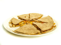 Quesadilla. With chicken and maze under oatmeal tortilla stock photography