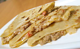 Quesadilla with chicken meat,. Closeup royalty free stock images
