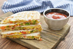 Quesadilla with chicken Stock Photo