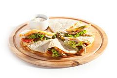 Quesadilla. With Chicken and Vegetables stock images