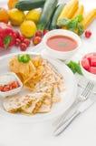 Quesadilla de pollo mexicain initial Photographie stock