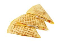 Quesadilla. fast food. Quesadilla with chicken and vegetables on a white background Stock Images