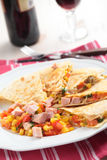 Quesadilla with ham Royalty Free Stock Photography