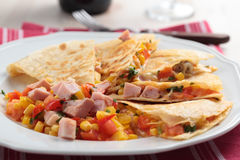 Quesadilla with ham. And vegetables. Shallow DOF royalty free stock photos
