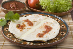 Quesadilla, mexican food. Traditional mexican food, quesadilla served on dish of clay stock photography