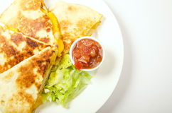 Quesadilla. Mexican quesadilla with salad and chili sauce stock images