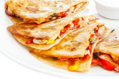 Quesadilla. On a plate. Mexican stuffed flapjack. A kind of tortilla. Latin cuisine stock photography
