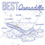Quesadilla recipe on a notebook page. Mexican traditional food background with quesadilla. Hand drawn sketch vector illustration. Vintage Mexico cuisine banner Royalty Free Stock Photography