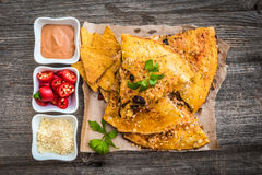 Quesadilla with sause and spices Royalty Free Stock Images
