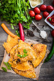 Quesadilla with spices Royalty Free Stock Photography