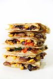 Quesadilla stacked on white vertical Stock Images