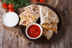 Quesadilla with vegetables and sauces. horizontal top view Stock Photography