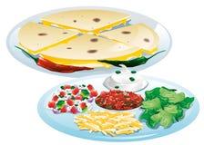 Quesadillas με τα καλύμματα Στοκ εικόνες με δικαίωμα ελεύθερης χρήσης