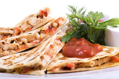 Quesadillas with Cajun Chicken. Cheese Tomato Salsa and corn salad stock images