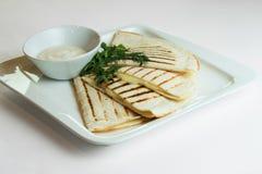 Quesadillas with cheddar stock photos