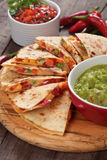 Quesadillas with cheese and vegetables Stock Photos
