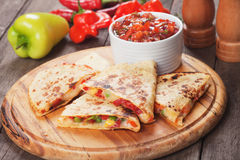 Quesadillas with cheese and vegetables Royalty Free Stock Image