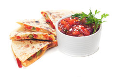 Quesadillas with cheese and vegetables. Mexican quesadillas with cheese, vegetables and salsa isolated on white Stock Photography