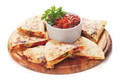 Quesadillas with cheese and vegetables Stock Images