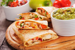Quesadillas with chicken meat and vegetables Stock Photos