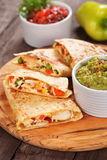 Quesadillas with chicken meat and vegetables Stock Photo