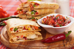 Quesadillas with chicken meat and vegetables Stock Images