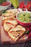 Quesadillas with guacamole Stock Photo
