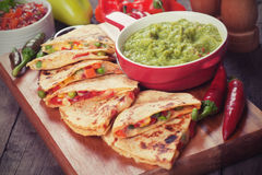 Quesadillas with guacamole Stock Photography