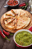 Quesadillas with guacamole and salsa dip Royalty Free Stock Photography