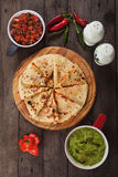 Quesadillas with guacamole and salsa Royalty Free Stock Images
