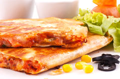 Quesadillas with sauces Royalty Free Stock Photography