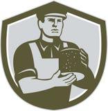 Quesero Holding Cheese Shield retro libre illustration