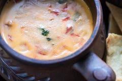 碗与玉米片的queso 免版税库存照片
