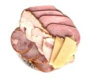 Queso ahumado aislado de la carne del ronquido Foto de archivo
