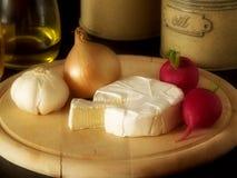 Queso, ajo, cebollas y especia Fotografía de archivo libre de regalías