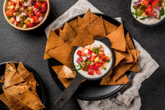 Free Queso Blanco With Baked Tortilla Chips Stock Photos - 96211383