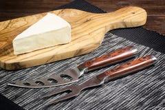 Queso con el molde y cuchillo y bifurcación blancos del queso Imágenes de archivo libres de regalías