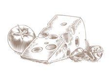 Queso con el tomate y la albahaca Imagen de archivo libre de regalías