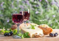 Queso con el vino rojo en la tabla de madera al aire libre Fotos de archivo