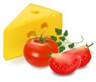 Queso con los tomates. Foto de archivo libre de regalías