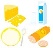 Queso, crema amarga, kéfir, leche y salchicha Imagenes de archivo