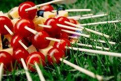 Queso de las aceitunas de los tomates de cereza en el aperitivo de madera del palillo, comida campestre Fotos de archivo libres de regalías