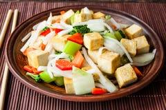 Queso de soja con las verduras Imagen de archivo