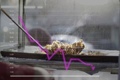 Queso de soja frito Levantando el queso de soja frito de un sartén con un filtro, en la línea gráficos en el nivel de salud causa fotos de archivo