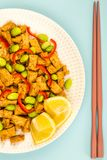 Queso de soja profundo de Fried Chinese Style Vegetarian o del vegano con rojo picante Foto de archivo