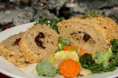 Queso de soja Turquía del vegano y verduras Imagen de archivo