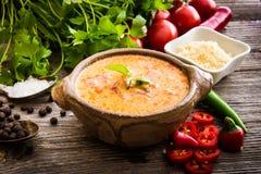 Queso de Sope com os vegetais no fundo de madeira Fotografia de Stock